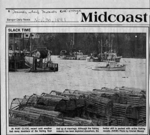 From Bangor Daily News 1991.  Donald's Wharf towards cold storage.