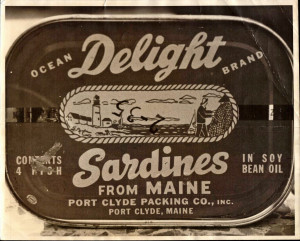 Cover of Ocean Delight Sardines from Port Clyde Maine.  1962